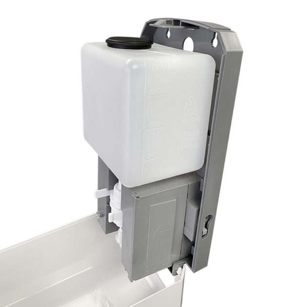 hands gel sanitizer dispenser 5 630x630 - Wall Mount Automatic Gel Hand Sanitizer Soap Dispenser in White